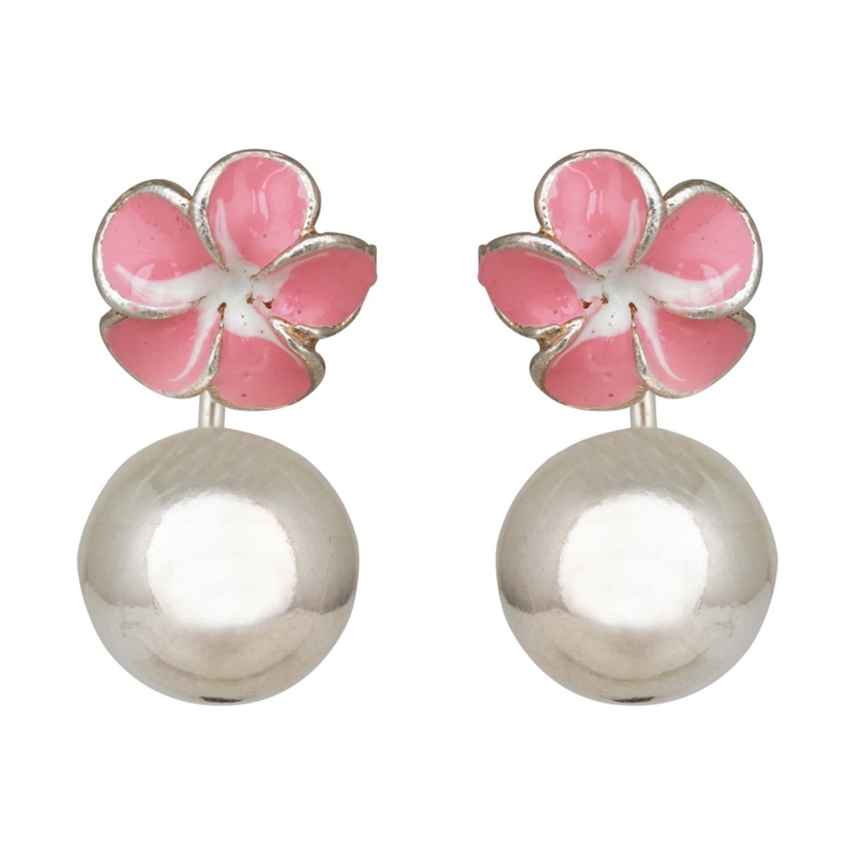 Pink Enamel Polo Earrings