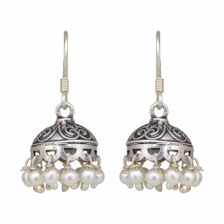 Tiny Silver Pearl Jhumka
