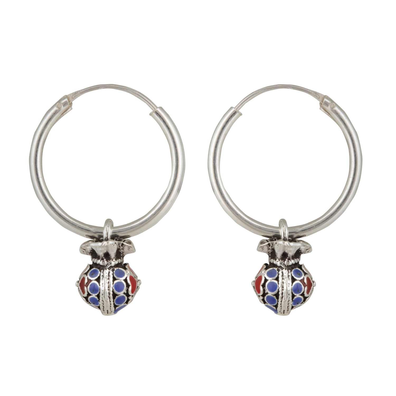 Sterling Silver Enamel Hearty Silver Hoop Earrings for Women and Girls
