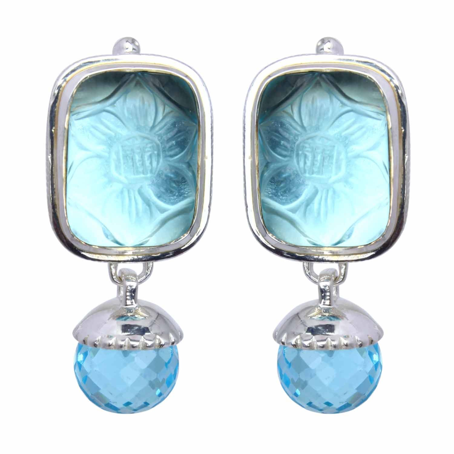 Pasha Blue Topaz Rectangular Silver Drop Earrings