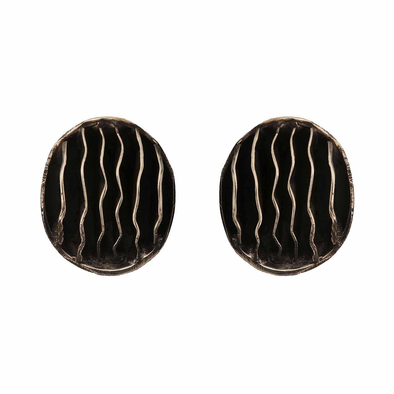 Striped Oval Antique Stud Earrings