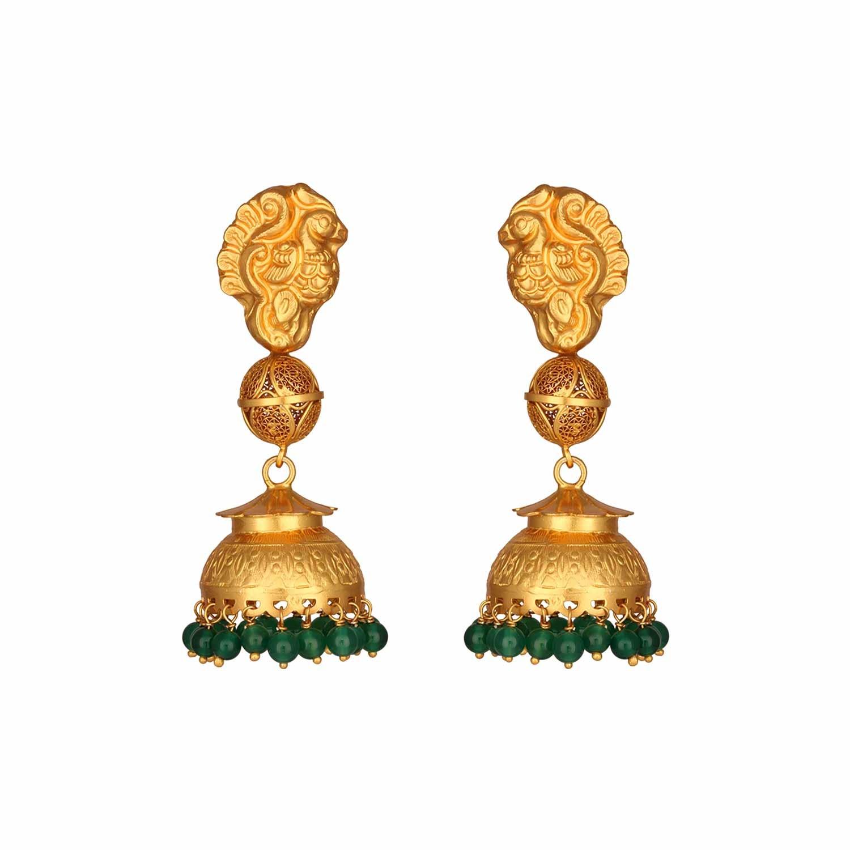 Ethnic Nagas Green Onyx Jhumki Earrings
