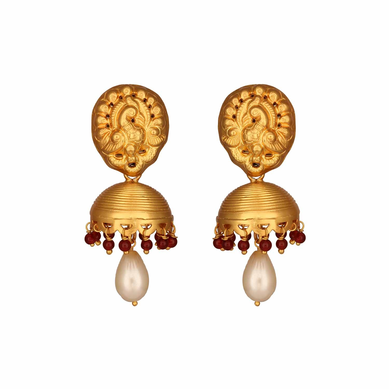 Traditional South Indian Red Onyx Jhumki