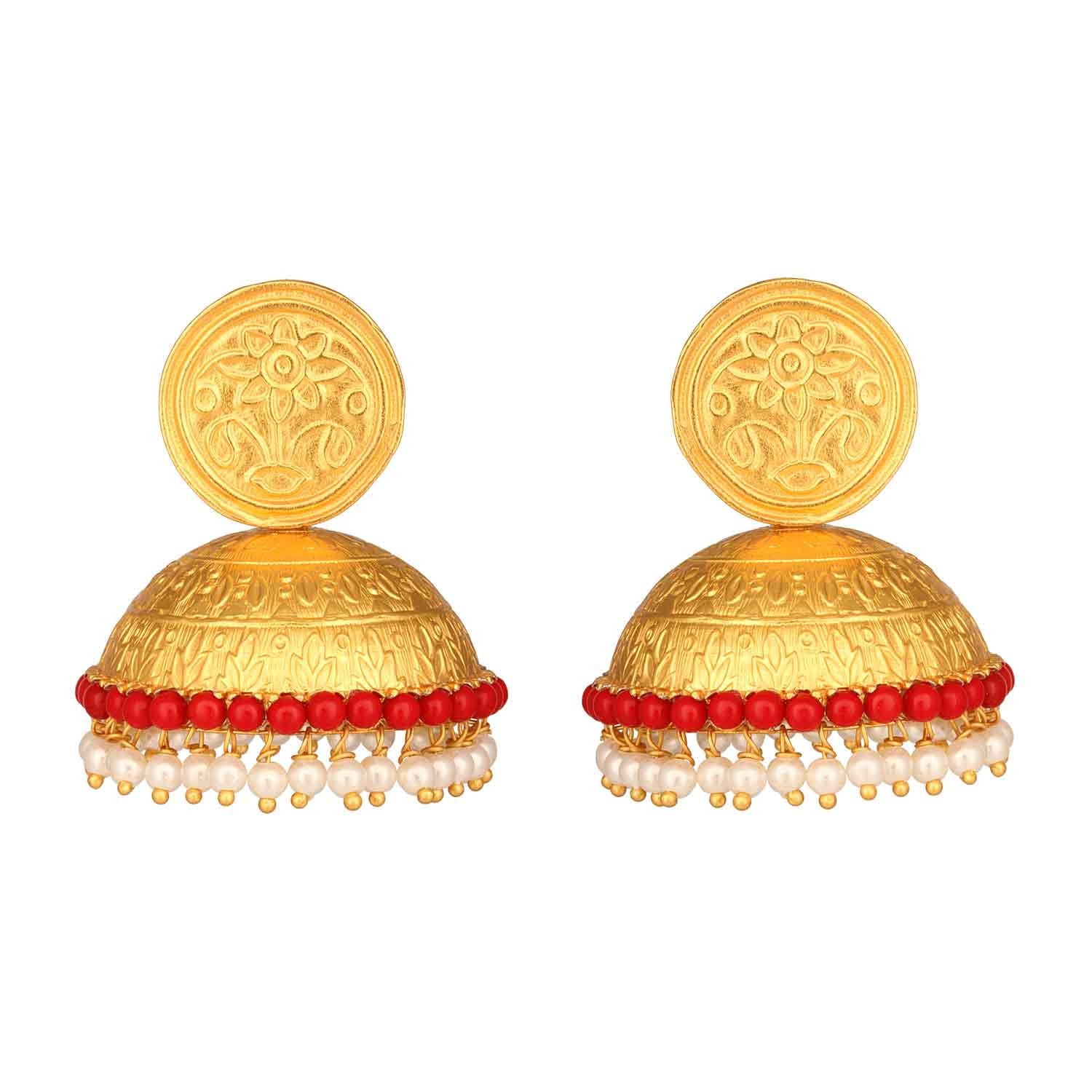 Evergreen Traditional Coral Bell Jhumka Earrings
