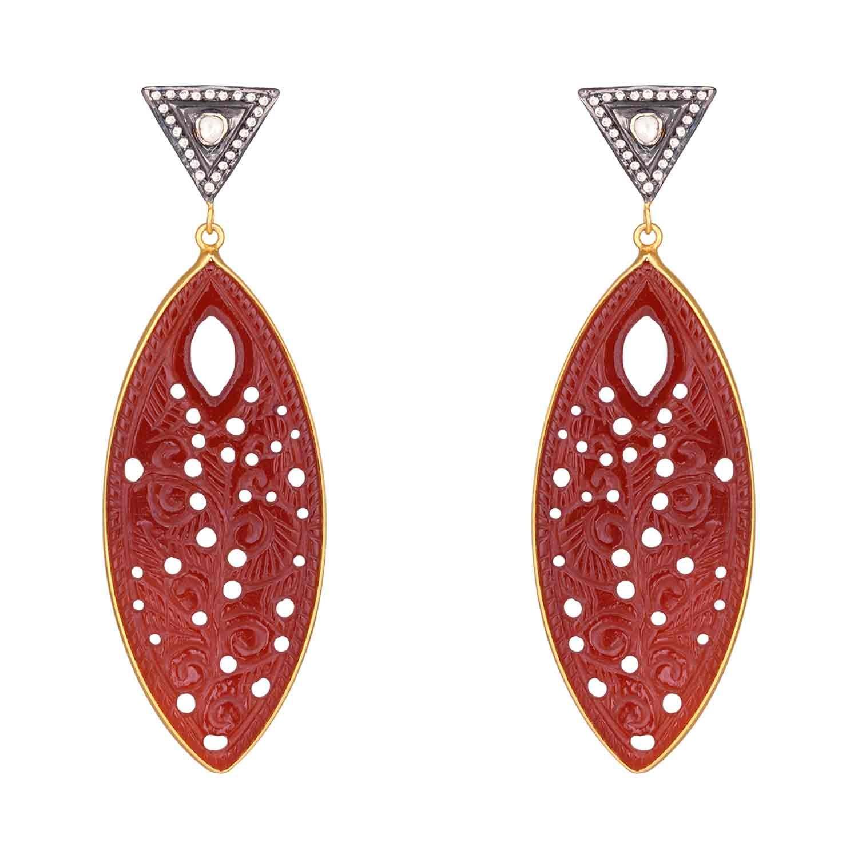 Red Stone Heavy Drop Earrings