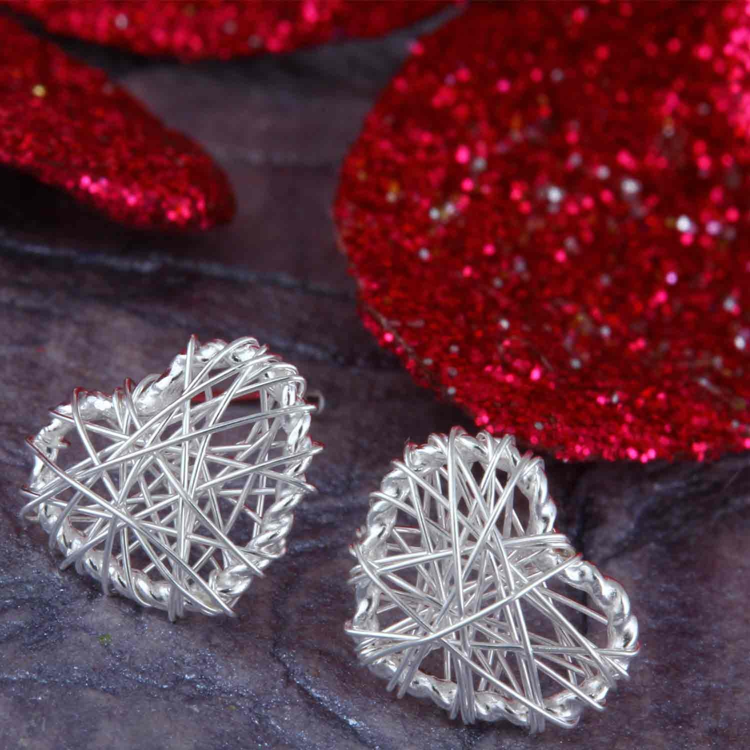 Wired Heart Stud Earrings