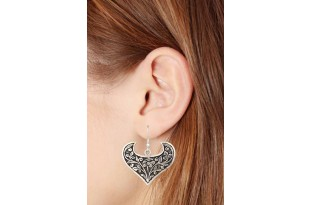 Oxidized Heart Shaped Silver Dangle Drop Earrings for Women and Girls