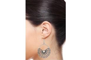 Half Moon Silver Drop Earrings for Women and Girls