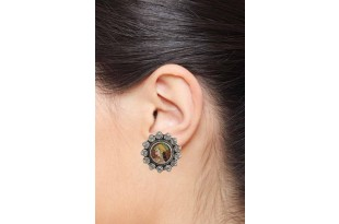 Colorful Enamel Rajasthani Silver Stud Earrings for Women and Girls