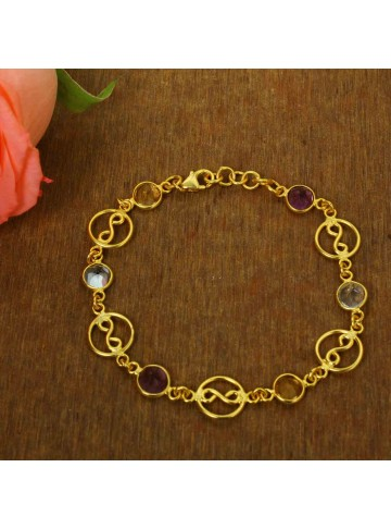 Multicolor Gemstone Bead Bracelet for Women