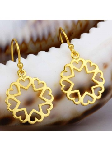 Golden Hearts Drop Earrings