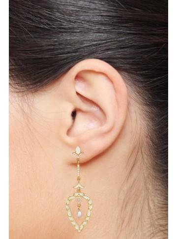 White Chic Enamel Leaf Earrings