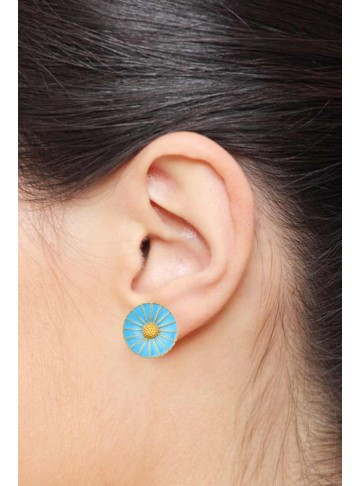 SkyBlue Enamel Disc Studs