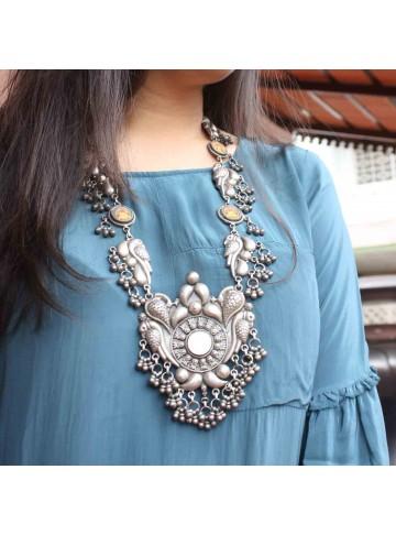 Ganesha Long Silver Necklace