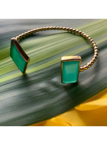 Wonder Green Onyx Gold Plated Silver Bracelet