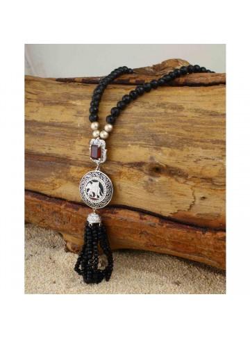 Black Beauty Onyx Garnet Tassel Necklace