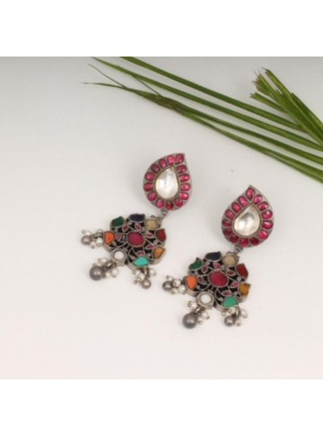Navratna Stone Silver Earring