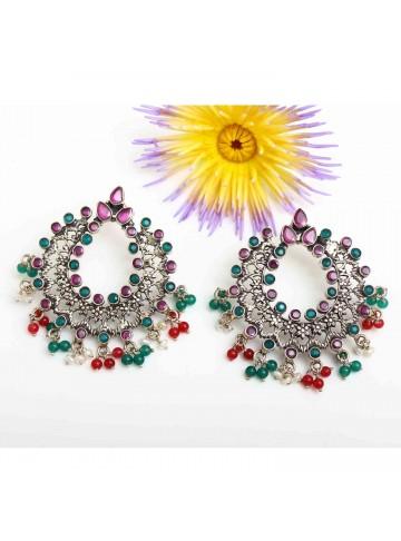 Multi-Stone Chandbali Earrings