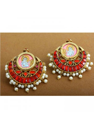 Traditional Krishna Gold Plated Chandbali Silver Earrings for Women and Girls