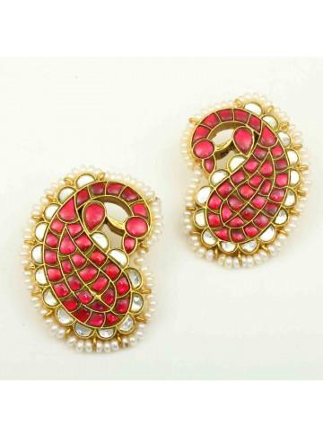 Mango Paisley Gold Plated Stud Earrings