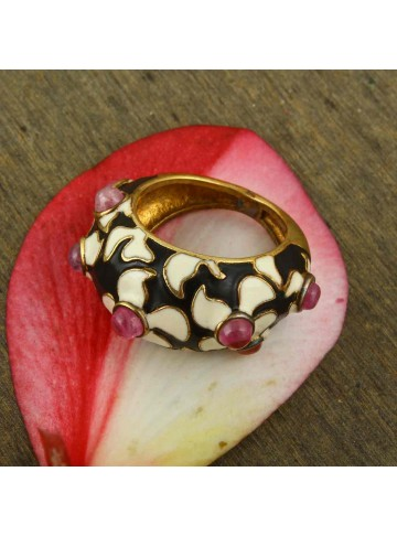 Handmade Gold Plated Pink Enamel Silver Ring for Women