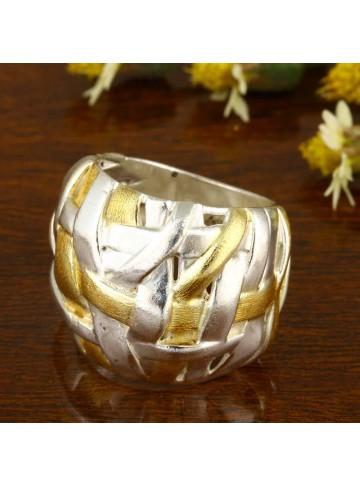 Golden Mesh Checkered Ring