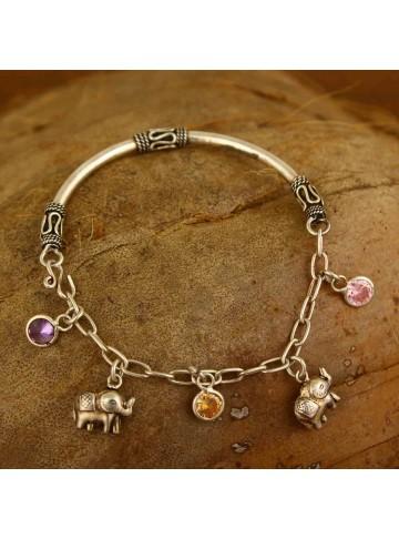 Elephant Tourmaline Charm Bracelet