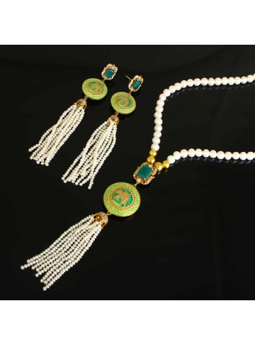 Pearl and Green Onyx Necklace