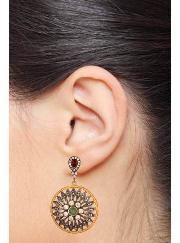 Floral Disc Drop Earrings