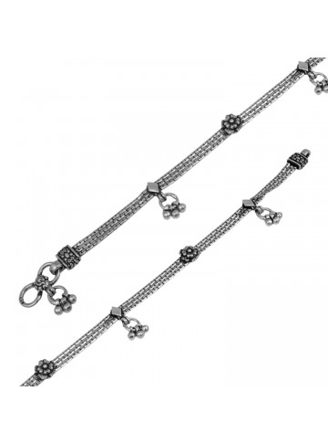 Traditional Handmade Oxidised Floral Silver Anklet for Women and Girls