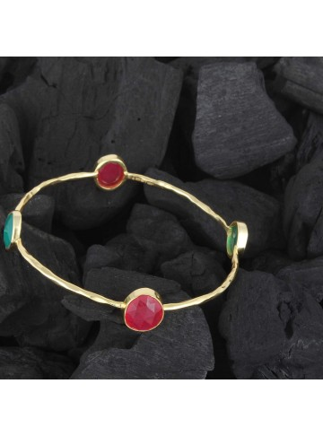Antique Gold Plated Single Line Onyx Bangle For Women and Girls