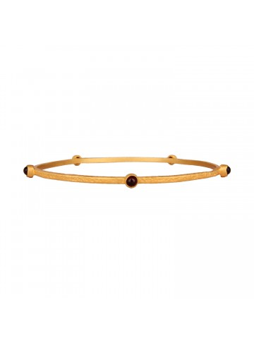 Contemporary Garnet Studded Slim Bangle
