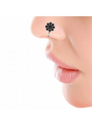 Black Onyx Floral Nose Pin
