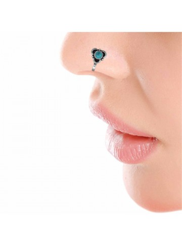 Turquoise Floral Nose Pin