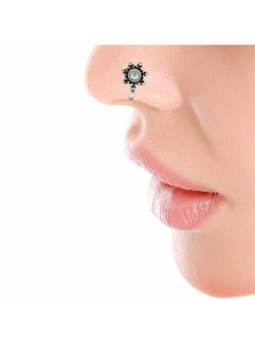 Pearl Star Silver Nose Pin