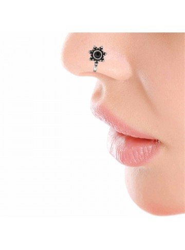 Black Onyx Star Silver Nose Pin