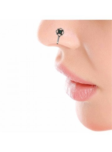 Green Onyx Floral Nose Pin