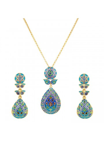 Blue Tear Drop Pendant Set