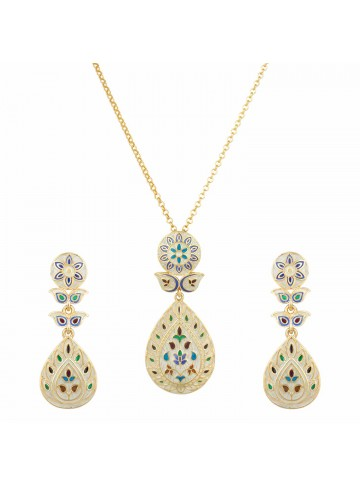 Cream Tear Drop Pendant Set
