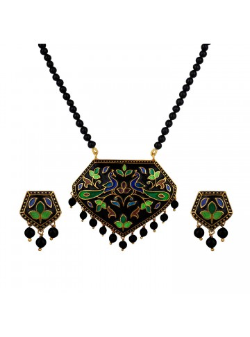The Black Peacock Pendant Set
