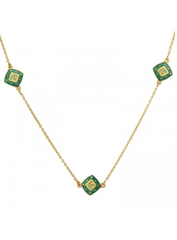 Green Beaded Square Chain
