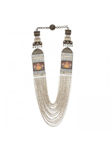 Indian Traditional Wedding Hand-Painted Long Silver Beaded Necklace for Women