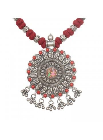 Krishna Radha Red Silver Necklace