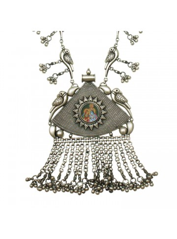 Krishni Peacock Silver Necklace