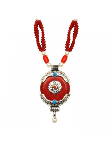 Coral Agate Silver Necklace for Women and Girls