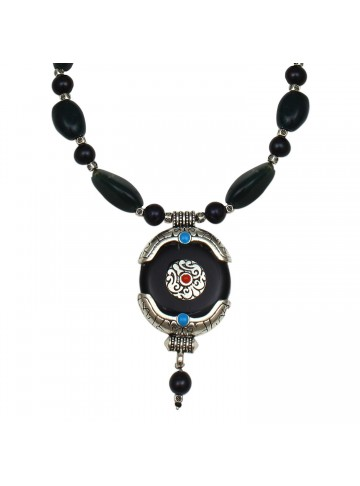 Deep Blue Agate Necklace for Women and Girls