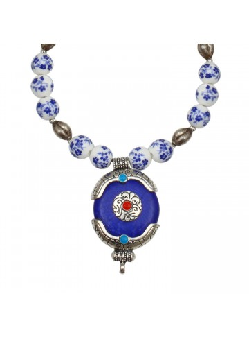 Blue Agate Necklace for Women and Girls