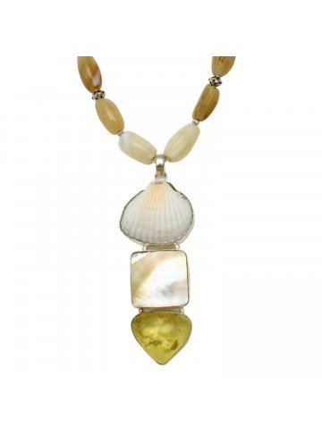 Shell Pearl Agate Necklace for Women and Girls