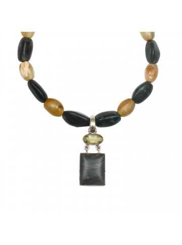 Twin Agate Necklace for Women and Girls