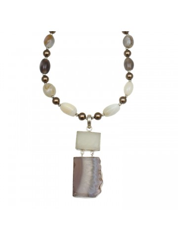 Mother of Pearl Agate Necklace for Women and Girls